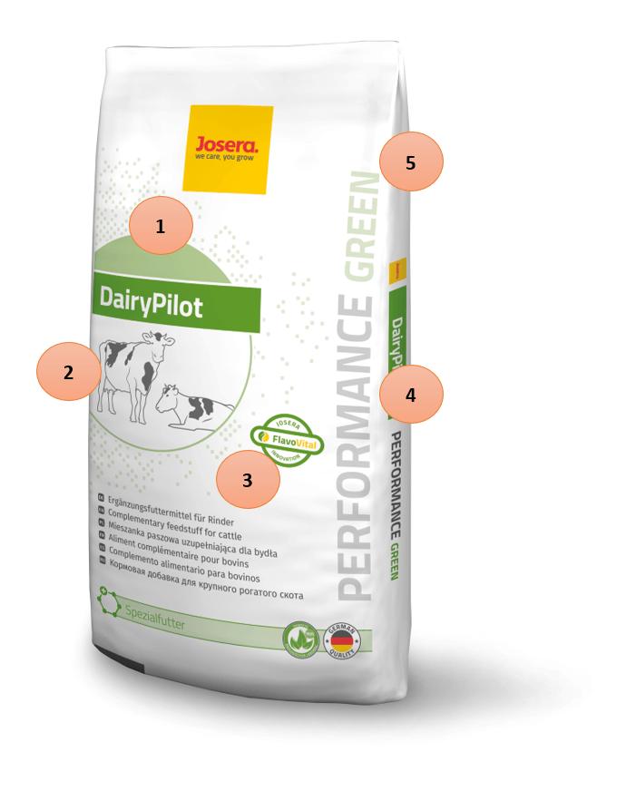 JOSERA Verpackung DairyPilot green, zur Erklärung des neuen Sortiment-Systemes